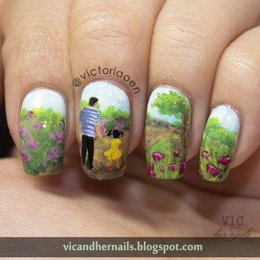 Daddy and His Girl nail art by Victoria Oen