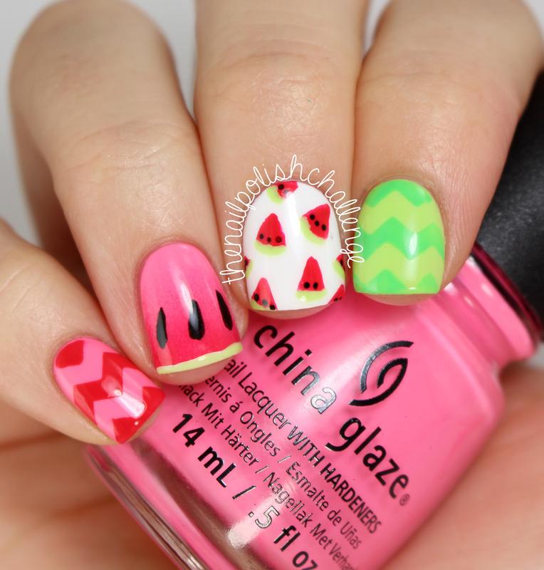 Watermelon Nail Art nail art by Kelli Dobrin