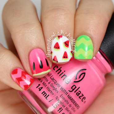 Watermelon Nail Art nail art by Kelli Dobrin