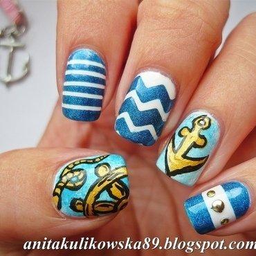 Marine Nail Art :) nail art by Anita