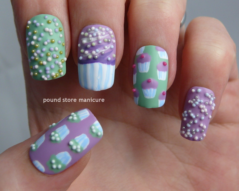 Cupcakes nail art by Pound Store Manicure