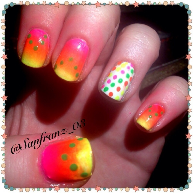 Neon gradient nails! nail art by Sandy