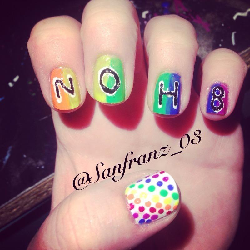 Gay pride nails! nail art by Sandy