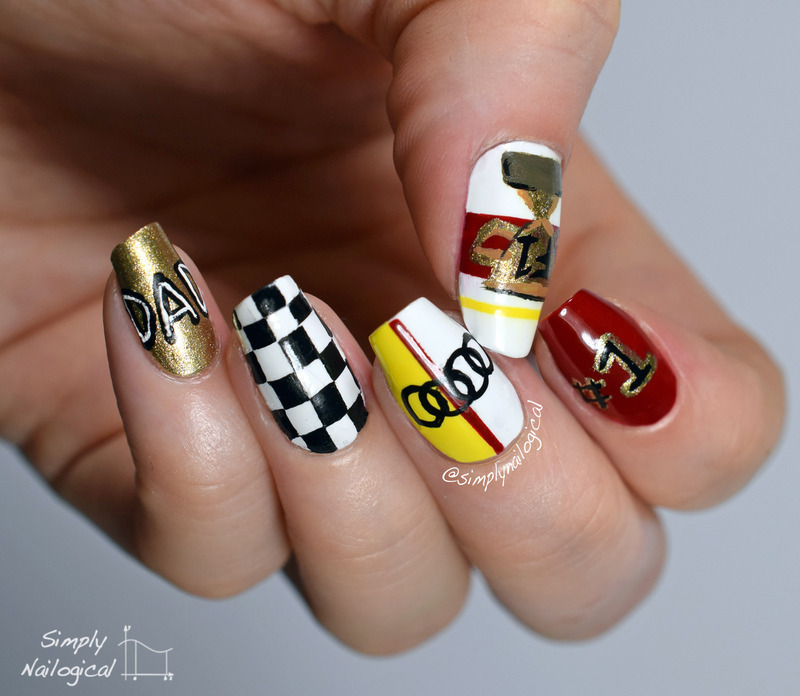 Father's Day finish line nail art by simplynailogical