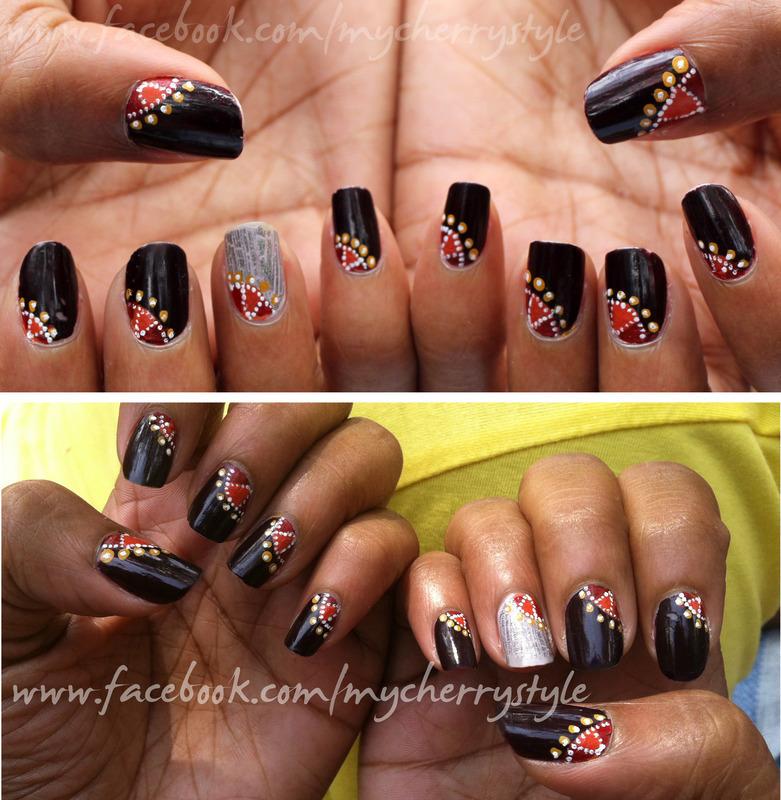 """Kolam"" inspired  nail art by Joni Lynne"