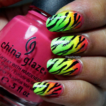 Lily Allen Zebra Print nails nail art by Stacey  Castanha