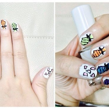 Moustache Tie nail art by Olivia Gozal
