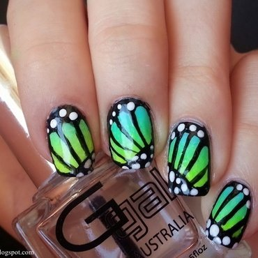 Butterfly wings nail art by KonadAddict