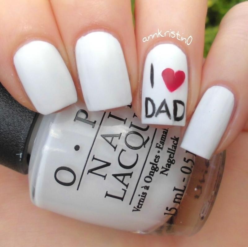 I Love Dad nail art by Ann-Kristin