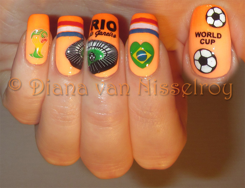 World Cup 2014 nail art by Diana van Nisselroy