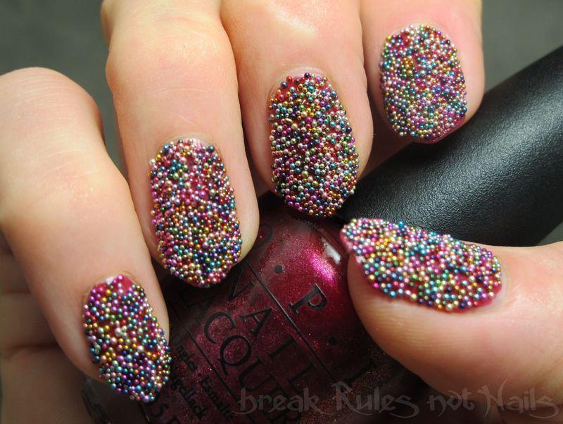 Fairy bread caviar nail art by Michelle