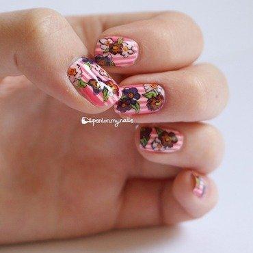 Floral Stripes nail art by Pardon My Nails