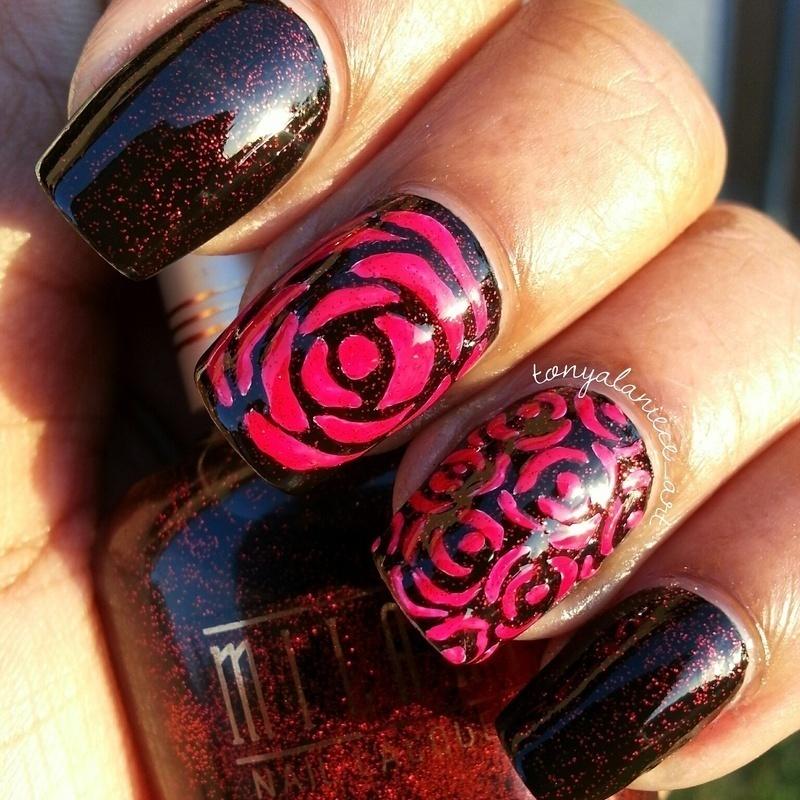 Red Roses nail art by Tonya