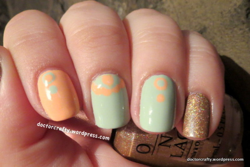 Peach and Green Dotted Skittlette nail art by Nicole