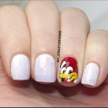 Woody Woodpecker nails nail art by Mycrazydesigns