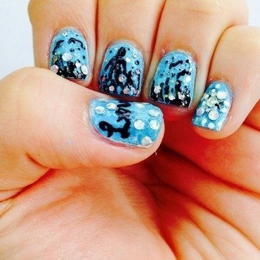 Father's Day Night silhouette  nail art by Hpinln