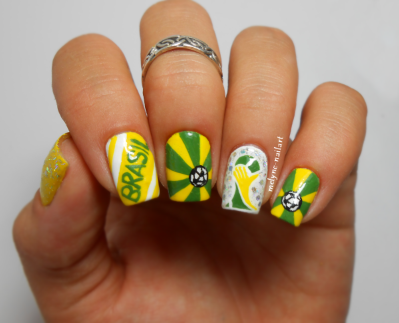 Word Cup Brasil 2014 nail art by melyne nailart