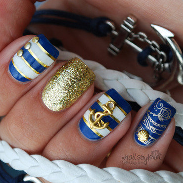 Nautical Nails nail art by xNailsByMiri