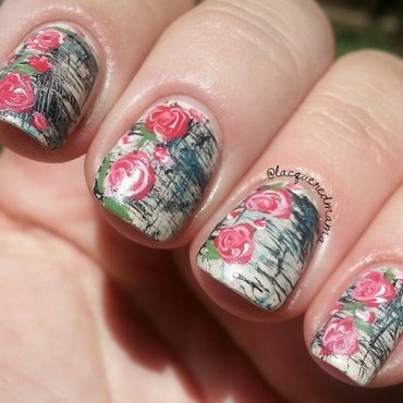 Distressed Roses nail art by Jennifer Collins