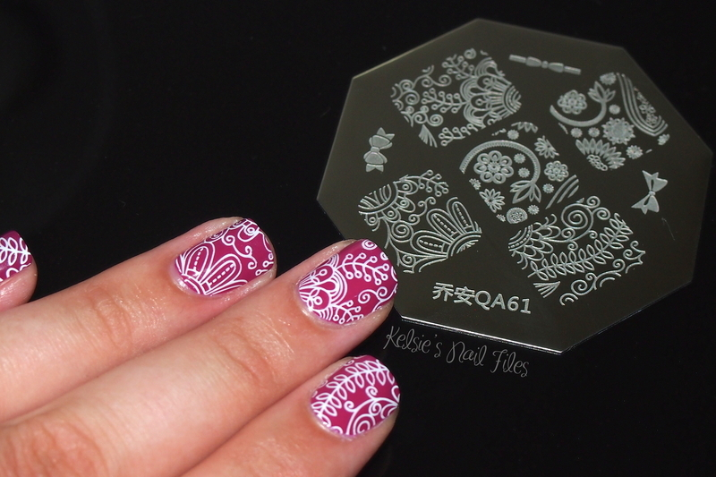 Born Pretty Store stamping plate QA61 - Floral nail art by Kelsie