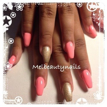 Gold n coral  nail art by mel