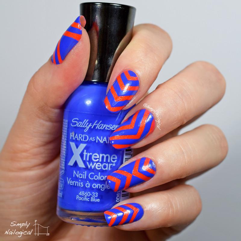 Saving 'Pacific Blue' chevron by chevron nail art by simplynailogical