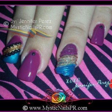 Seashell Acrylic ♥ by Jennifer Perez nail art by Jennifer Perez ♥ Mystic Nails