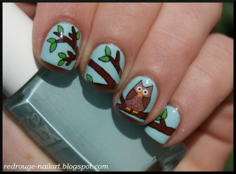 Owl nails nail art by RedRouge