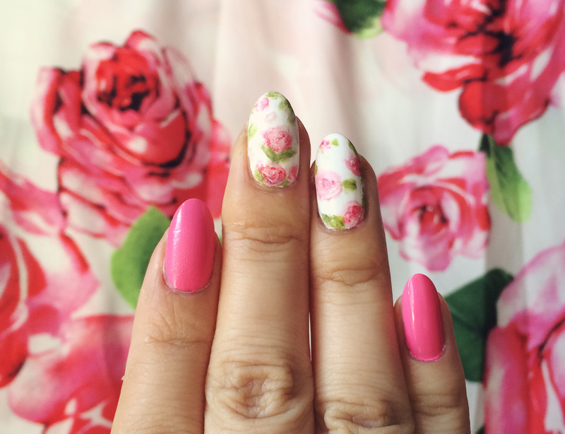 Pink floral rose nails nail art by Michelle