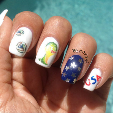 2014 FIFA World Cup Soccer Nails nail art by Reina