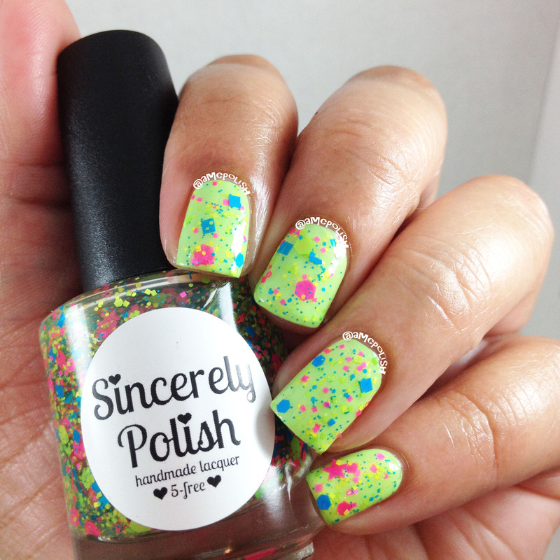 Neon Glitters nail art by Amber Connor