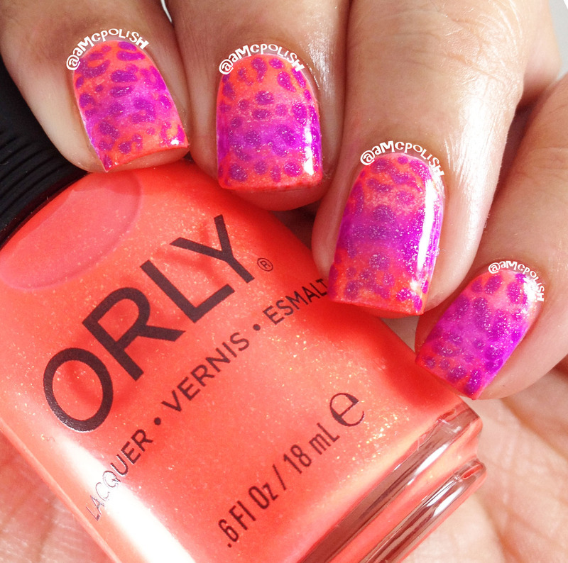 Neon Gradient nail art by Amber Connor
