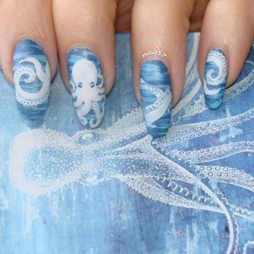 White Octopus nail art by Nora (naq57)