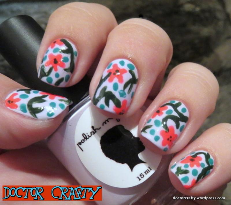 Bright Flower design nail art by Nicole