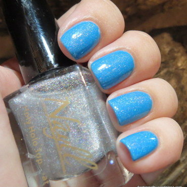 Essie strut your stuff and Nayll Holy Holo Top Coat Swatch by Nicole