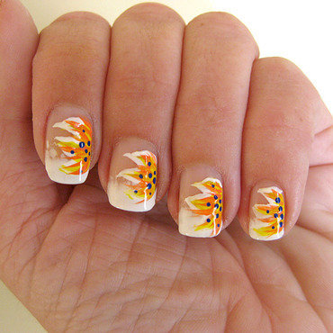 Acrylic painted flowers nail art by Vicky