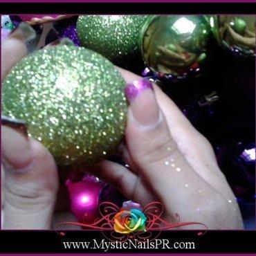 Magenta Christmas! ♥ by Jennifer Perez nail art by Jennifer Perez ♥ Mystic Nails