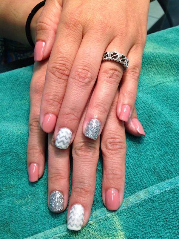 Feminine Chevron nail art by Beth Marie