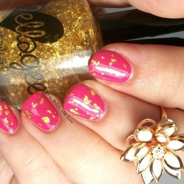 ellagee Golden Lotus, ellagee Glass topcoat, and OPI Hey Baby! Swatch by Dani