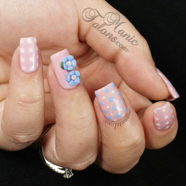 Sweet and Innocent Dots and Roses nail art by ManicTalons
