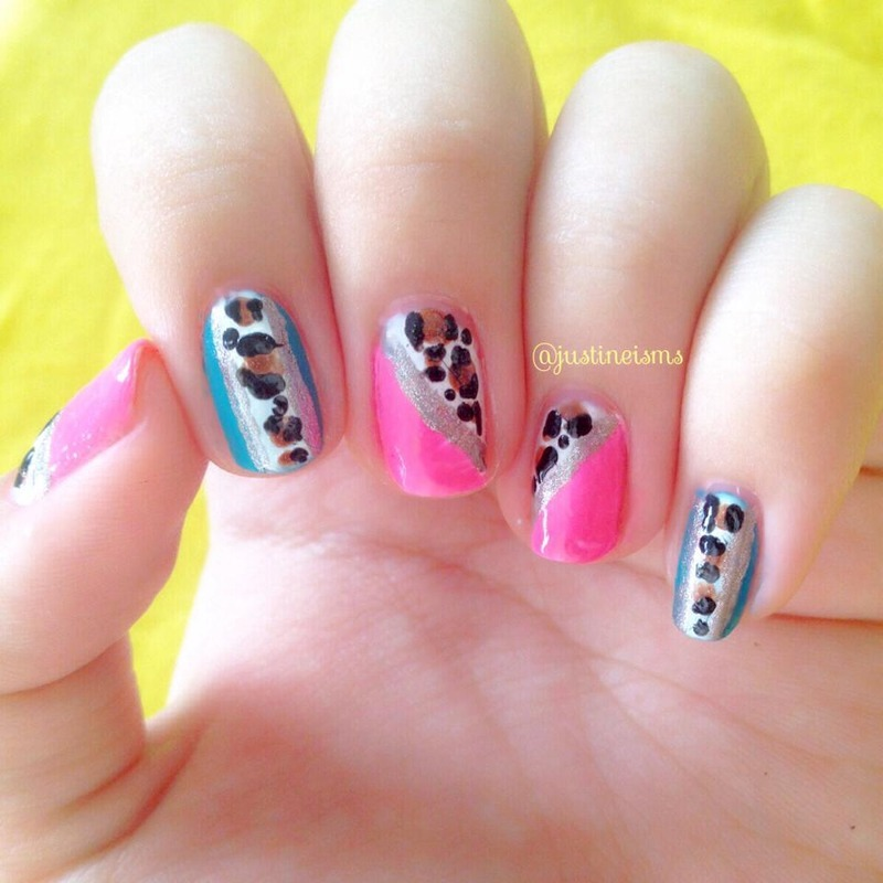 Neon and Leopard nail art by ℐustine