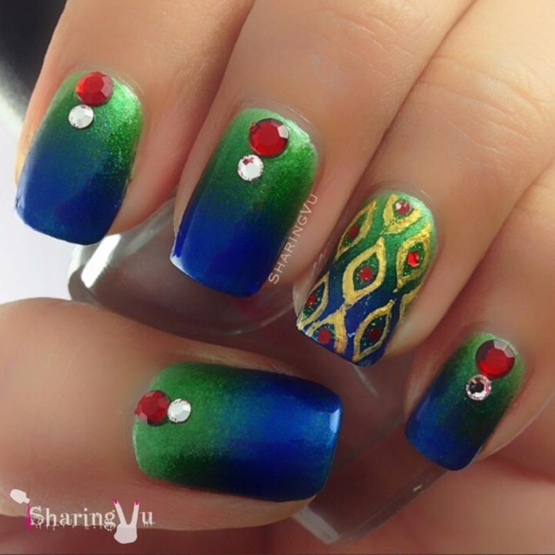 Peacock 💙💚❤️💚💙 nail art by SharingVu
