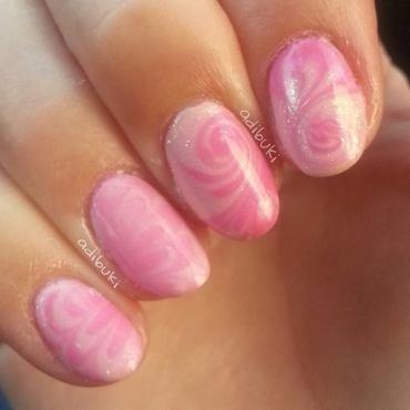 Pink Swirl Watermarble nail art by Adi Buki
