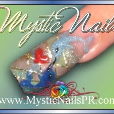 Dolphin L♥VE by Jennifer Perez nail art by Jennifer Perez ♥ Mystic Nails
