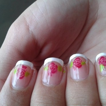 french tips roses nail art by Rachael