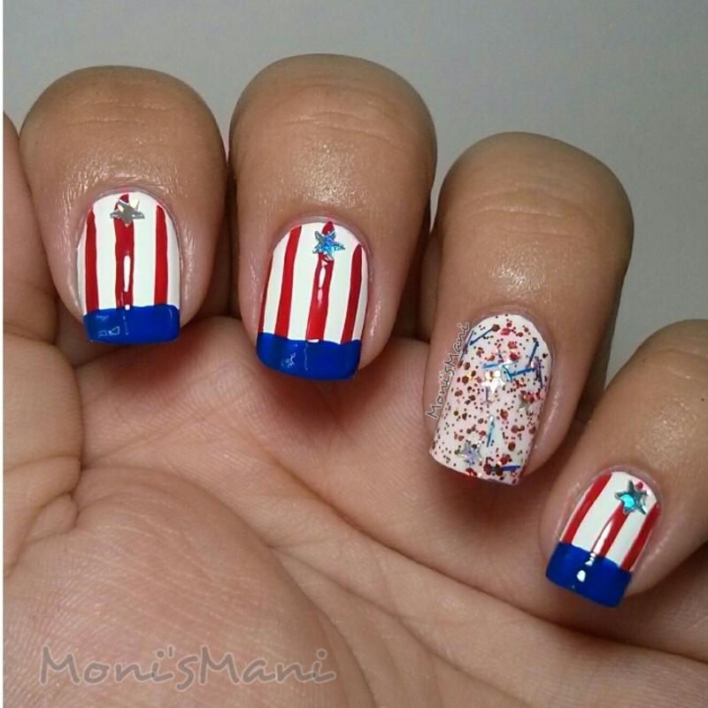 stars and stripes nail art by Moni'sMani