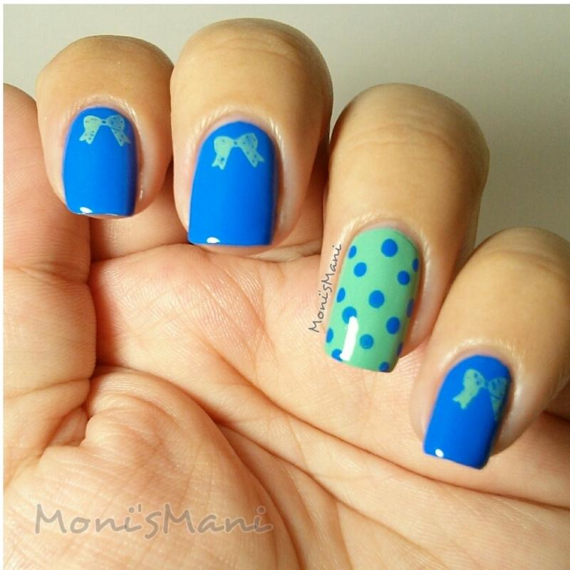 pacific polka dots and bows nail art by Moni'sMani