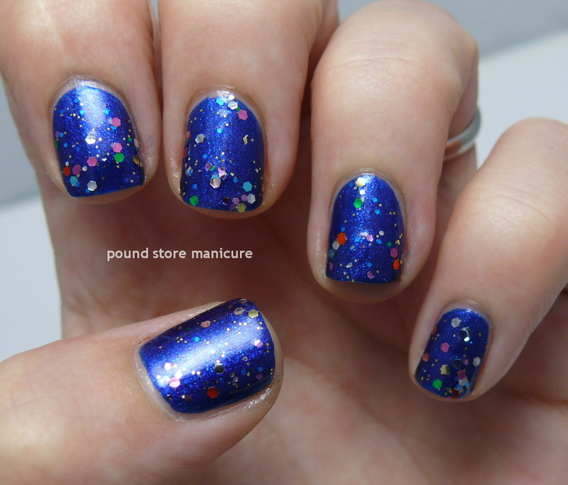 Essence Colour & Go It's Raining Men! and Essence Nail Art Special Effect Topper! Circus Confetti Swatch by Pound Store Manicure