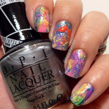 Paint splatter nails nail art by Carmen Ineedamani