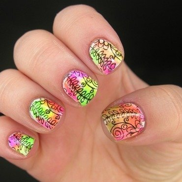 Summery stamping nail art by Agni